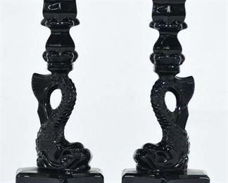 Pair Of Black Glass Asian Dolphin Motif Candlesticks