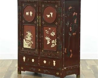 Antique Maroon Carved Scene Panel Asian Cabinet