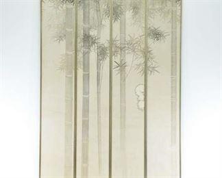 Set Of 4 Thackeray Gallery Tall Asian Bamboo Panels
