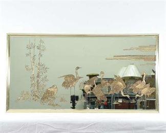 Mid Century Asian Crane Motif Painted Landscape Mirror