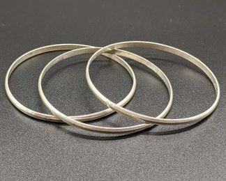 Set Of 3 Sterling Silver Bangle Bracelets