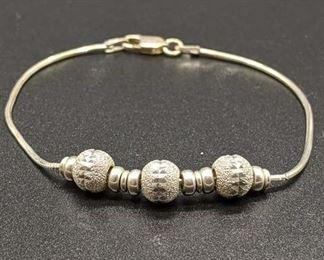 Italian Sterling Silver Bracelet W/ Textured Beads