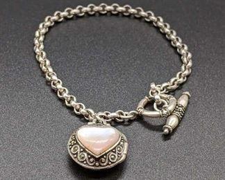 Sterling Silver Heart Pendant Locket Bracelet