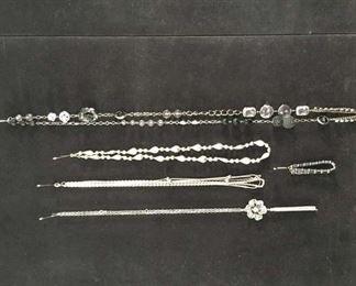Set Of 5 Mix Lot Costume Jewelry Chains & Bracelet