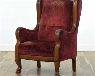 Edwardian Maroon Wingback Armchair