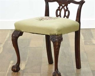 Carved Edwardian Accent Chair W Needlepoint Seat