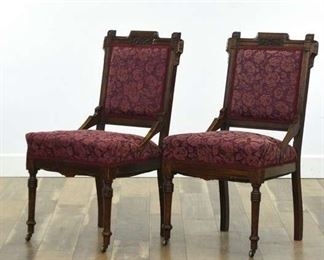 Pair Of Carved Victorian Eastlake Style Accent Chairs