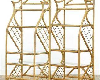 Pair Of Vintage Tiki Style Bamboo Etagere Shelves
