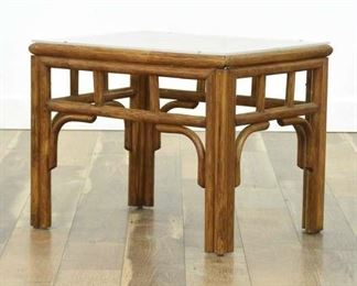 Coastal Motif Bentwood End Table W Acrylic Top