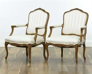 Pair Of Carved French Provincial Bergere Armchairs