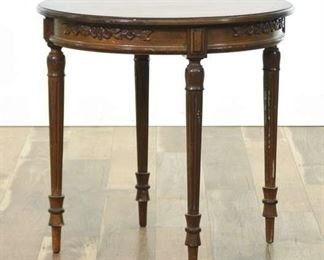 Carved Empire Round Foyer End Table W Fluted Legs