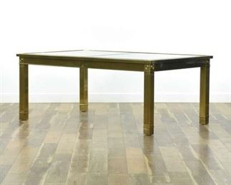 Mastercraft 1970'S Brass Dining Table W Beveled Glass