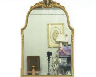 Large Empire Revival Gilt Frame Mirror W Figural Crest