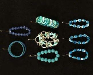 Set Of 8 Mix Lot Costume Jewelry Blue & Teal Bracelets