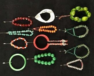 Set Of 12 Mix Lot Costume Jewelry Green Red Boho Beads