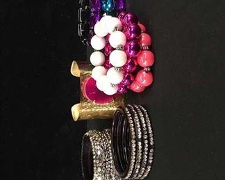 Set Of 11 Mix Lot Costume Jewelry Bracelets
