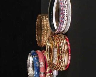 Set Of 24 Mix Lot Costume Jewelry Bangle Bracelets