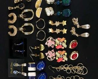 17 Pairs Mix Lot Costume Jewelry Earrings