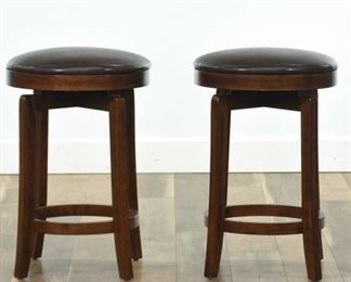 Pair Of Contemporary Mission Style Bar Stools