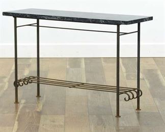Art Deco Console Iron Frame Table W Stone Top