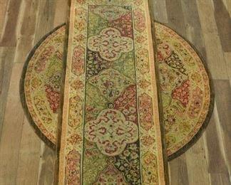 Pair Persian Pattern Runner & Round Area Rugs