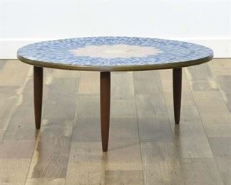 Handcrafted Floral Mosaic Top Coffee Table