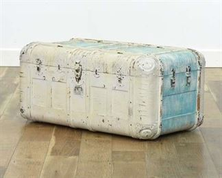 White Washed Rustic Steamer Trunk