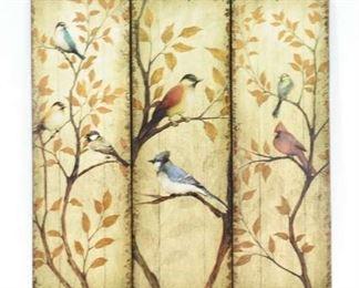 3 Panel Birds & Autumnal Trees
