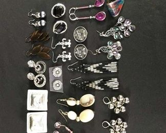 16 Pairs Mix Lot Costume Jewelry Earrings