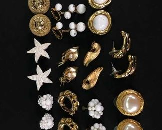 11 Pairs Mix Lot Costume Jewelry Earrings