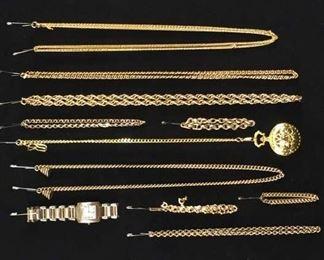 Set Of 11 Mix Lot Gold Plate Costume Jewelry