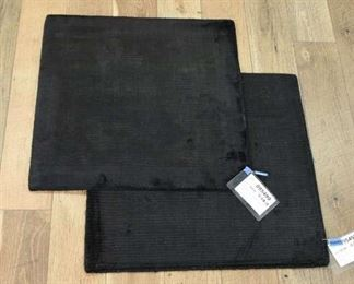 Pair Of Handmade Black Ribbed Weave Square Area Rugs
