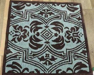 Handmade Mint Green & Cocoa Brown Area Rug