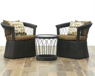 Set Of 3 Patio Chairs & Drum End Table W Glass Top