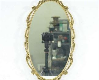 Vintage Gold Frame Small Oval Vanity Face Mirror