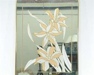 Windsor 1980'S Art Deco Peach Flower Design On Mirror