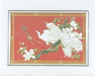 Vintage Asian Motif White Peacocks W Mirror Frame C1971