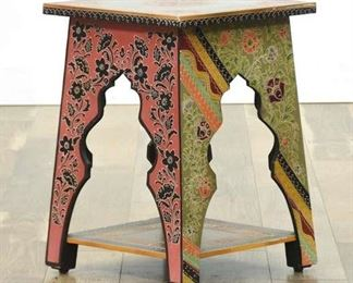 Carved Bohemian Multi Pattern Moroccan Style End Table