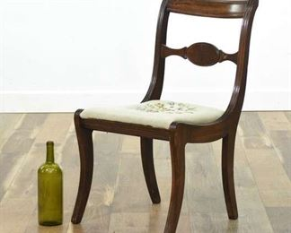 Antique Carved Dining Chair W Needlepoint Seat