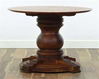 Large Carved Brazilian Walnut Pedestal Table