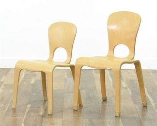 Pair Of Community Playthings Mix Size Woodcrest Chairs