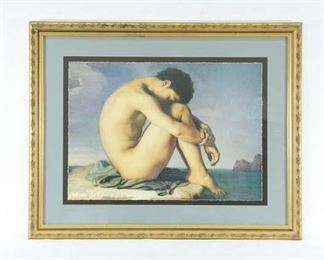Museum Print Hippolyte Flandrin Nude Youth By The Sea