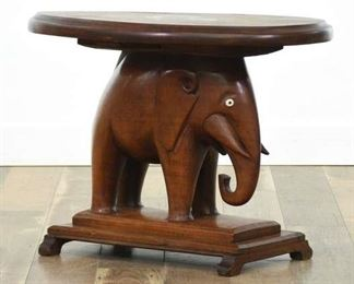 Solid Mahogany Elephant Side Table W/ Marquetry Inlay