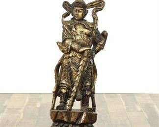 Hand Carved And Gilded W/ Gold Leaf Asian Statue