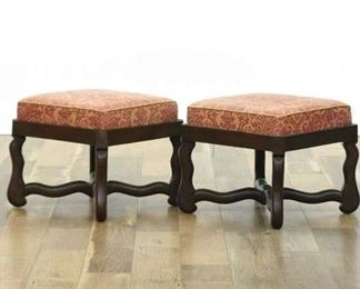 Pair Of Stretcher Frame Gothic Revival Ottomans