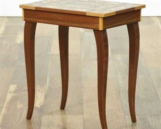 Marquetry Style End Table W Storage