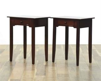 Pair Of Modern Long Leg Single Drawer Side Tables