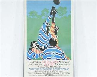 Vintage Framed Rugby Poster