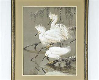 Print Guy Coheleach White Cranes