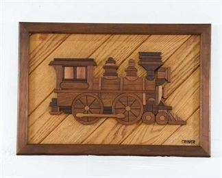"""Carved Wood Train Engine By """"Criner"""""""
